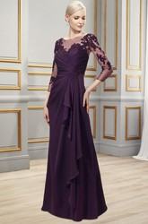 Appliqued Bateau Neck 3-4 Sleeve Chiffon Formal Dress