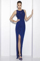 Sheath Beaded Sleeveless Scoop Neck Jersey Prom Dress