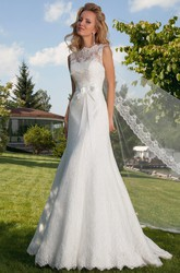 A-Line Bowed Bateau Floor-Length Sleeveless Lace Wedding Dress With Illusion Back And Court Train