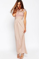 Ankle-Length Sheath Ruched Jewel Neck Cap Sleeve Chiffon Bridesmaid Dress