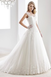 Cap sleeve A-line Illusion Wedding Gown with Appliques and Brush Train
