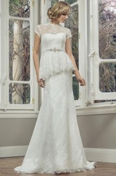 Sheath High Neck T-Shirt-Sleeve Jeweled Floor-Length Lace Wedding Dress With Peplum And Illusion