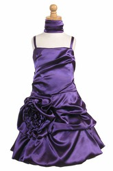 Knee-Length Cape Ruched Floral Satin Flower Girl Dress With Sash