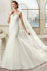 Cap Sleeve Mermaid Bridal Gown With Illusive Design And Open Back