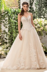 Sweetheart A-Line Long Gown With Appliques And Pleats