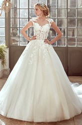 Cap-Sleeve Wedding Dress with Pleated Tulle Skirt and Lace Corset
