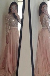 A-line Princess Scoop Chiffon Long Sleeves Applique Sweep Brush Train Dresses