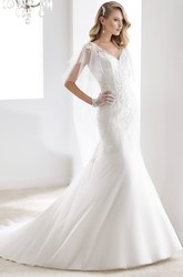 V-Neck Cape-Sleeve Sheath Mermaid Bridal Gown With Open Back