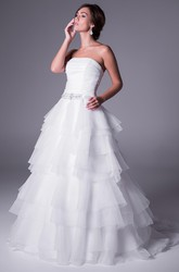 A-Line Tiered Strapless Sleeveless Long Organza Wedding Dress With Waist Jewellery And Ruching