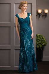 Cap-Sleeved Long Mother Of The Bride Dress With Sequins And Ruches