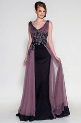 V-Neck Ruched Sleeveless Floor-Length Satin&Tulle Prom Dress With Beading