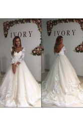 Ball Gown Off-the-shoulder Lace Tulle Low-V Back Wedding Gown