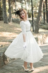 Jewel Tea-Length Lace Wedding Dress With Sash And Half Illusion Sleeve
