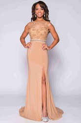 Jersey Sleeveless Side Slit Prom Dress With Beaded Lace Bodice