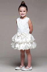 Midi Tiered Bowed Lace&Satin Flower Girl Dress With Ribbon