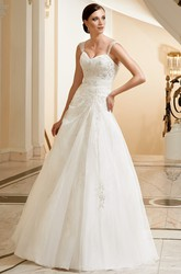 A-Line Sleeveless Appliqued Strapped Floor-Length Lace&Satin Wedding Dress With Draping