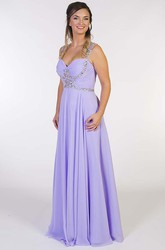 Maxi Strapped Criss-Cross Sleeveless Chiffon Prom Dress