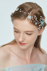 Western Style Forest Fairy Blue Metal Flowers Diamond Headdress