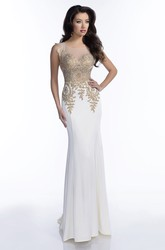 Jersey Sheath Sleeveless Bateau Neck Prom Dress Featuring Sophisticated Bling Bodice