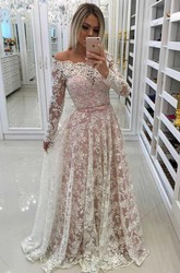 Illusion Long Sleeve Floor-length A-Line Off-the-shoulder Lace Dress