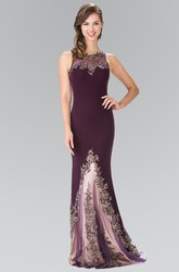 Sheath Scoop-Neck Sleeveless Jersey Illusion Dress With Appliques
