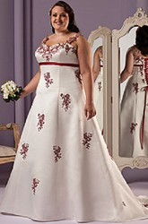 Red Appliqued A-Line Satin Bridal Gown With Lace Up And Sash
