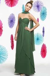 Floor-Length Sleeveless Empire Criss-Cross Sweetheart Chiffon Bridesmaid Dress