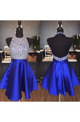 A-line Short Mini Sleeveless Halter Beading Ruffles Satin Homecoming Dress