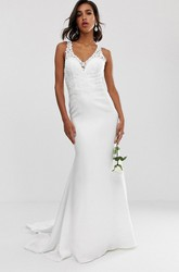 Ethereal Sheath Straps Sleeveless Court Train Wedding Dress