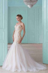 Trumpet Long Sweetheart Tulle&Lace Wedding Dress With Corset Back