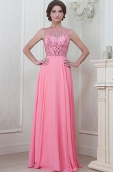 A-Line Floor-Length Beaded Sleeveless Jewel-Neck Chiffon Evening Dress With Pleats