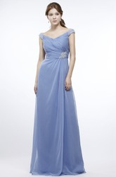 Maxi Ruched Cap Sleeve V-Neck Chiffon Prom Dress With Beading