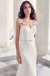 Jeweled V-Neck Cap Sleeve Lace Wedding Dress