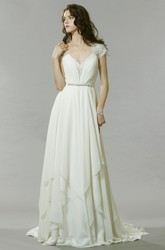 Long V-Neck Beaded Jeweled Chiffon Wedding Dress With Sweep Train And Keyhole