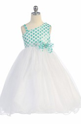 One-Shoulder Tea-Length Bowed Tulle&Sequins Flower Girl Dress With Tiers