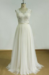 V neck sleeveless jeweled tulle wedding dress ucenter dress for Goodwill wedding dress sale 2017