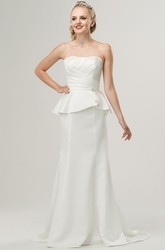Sheath Floor-Length Sleeveless Strapless Peplum Satin Wedding Dress With Broach And Ruching
