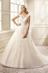 Ball Gown V-Neck Long Appliqued Cap-Sleeve Lace&Satin Wedding Dress