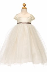 Tea-Length Empire Cap-Sleeve Ruched Tulle&Satin Flower Girl Dress