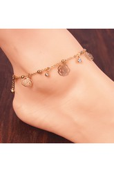 Gold Plated Small Bells Hollow Roses Bows Flash Diamond Tassel Anklet 26Cm