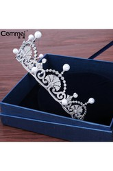Korean Pearl Zircon Bride Crown Headdress Necklace Three Suit Banquet Dress Jewelry
