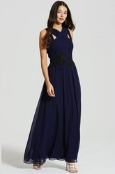 Ankle-Length Appliqued Strapped Sleeveless Chiffon Bridesmaid Dress