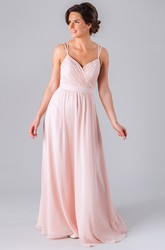 Sleeveless Criss-Cross Spaghetti Chiffon Bridesmaid Dress With Straps