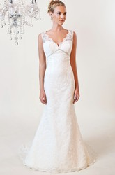 Trumpet V-Neck Appliqued Floor-Length Sleeveless Lace Wedding Dress With Deep-V Back And Waist Jewellery
