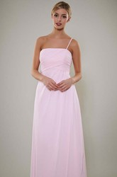 Long Spaghetti Ruched Chiffon Bridesmaid Dress With V Back