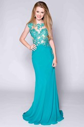 Sleeveless Lace And Jersey Prom Dress Featuring Keyhole Back