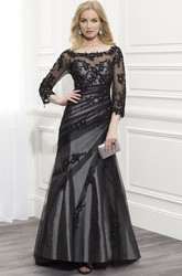 A-Line Scoop-Neck Appliqued Floor-Length 3-4-Sleeve Tulle&Satin Formal Dress With Beading And Side Draping