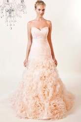 A-Line Sweetheart Jeweled Organza Wedding Dress With Criss Cross And Ruffles