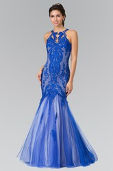 Mermaid Jewel-Neck Sleeveless Tulle Illusion Dress With Lace And Appliques