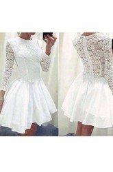 A-line Short Mini 3 4 Length Sleeve High Neck Ruching Ruffles Chiffon Lace Homecoming Dress